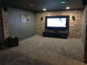 Remodeled Basement Using Faux Stone Panels Architectural