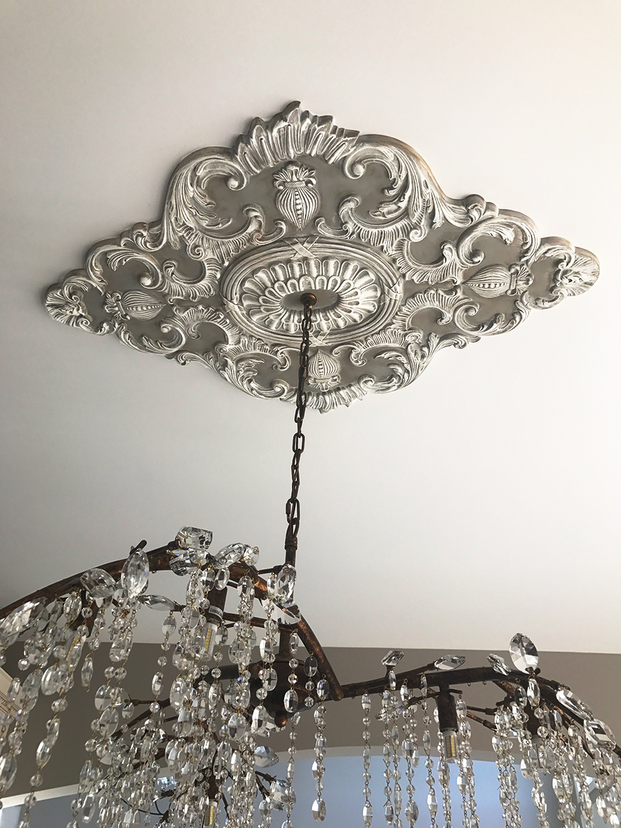 Beautiful Ekena Millwork Ceiling Medallion with a Chandelier ... 95c1d147e