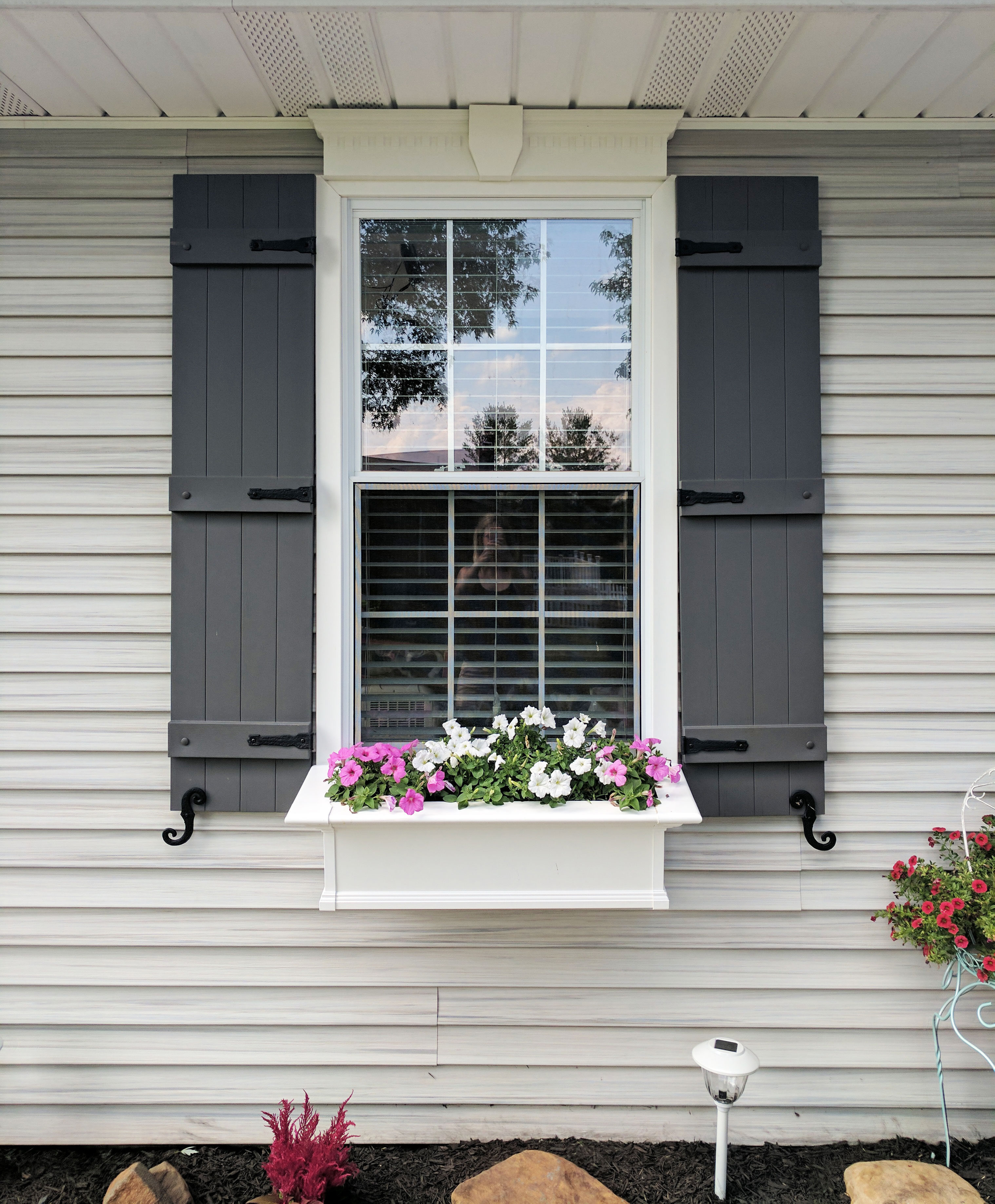 Board N Batten Shutters With Window Box On Ohio Home