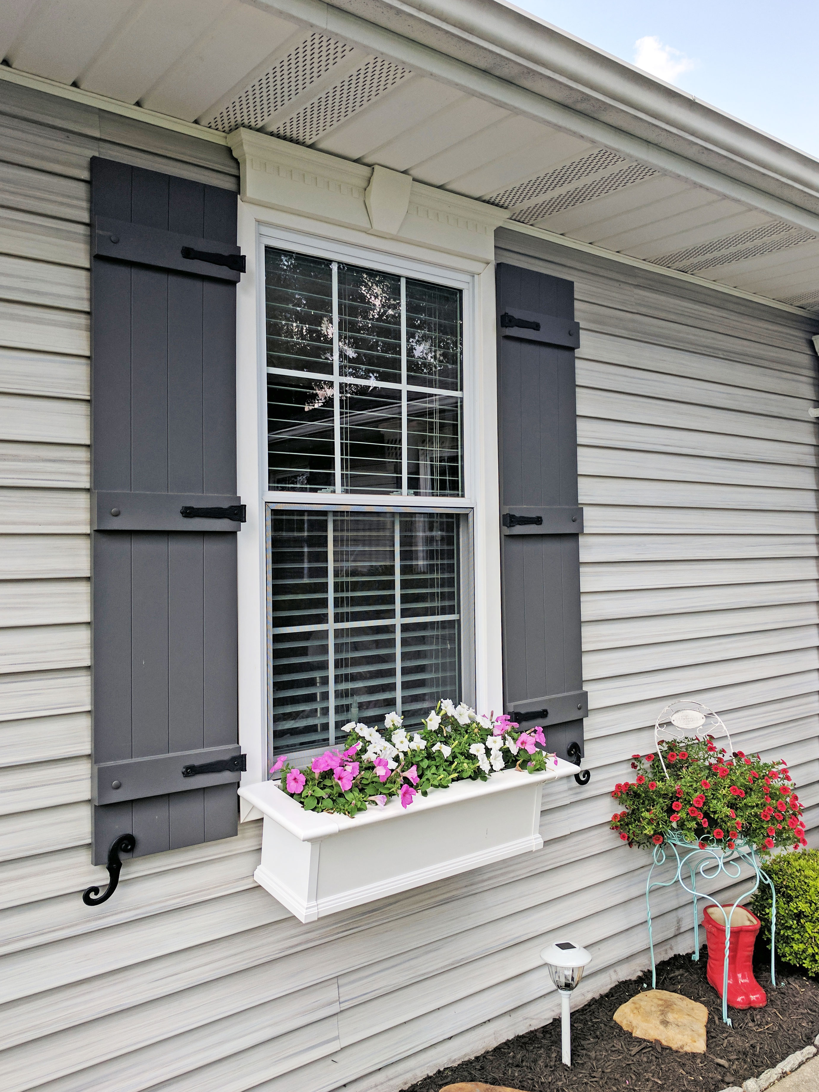Board N Batten Shutters With Window Box On Ohio Home Architectural Depot